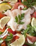 鱼食谱的成份。 免版税库存照片