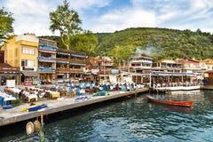 鱼餐馆在阿纳多卢Kavagi村庄海边 免版税库存图片
