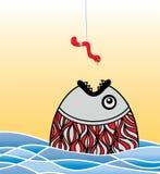 鱼饥饿的狡猾的蠕虫 免版税图库摄影