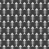 鱼骨单色无缝的传染媒介样式 免版税库存图片