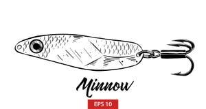 鱼鲤科小鱼手拉的剪影在白色背景在黑的隔绝的 详细的葡萄酒蚀刻样式图画 皇族释放例证