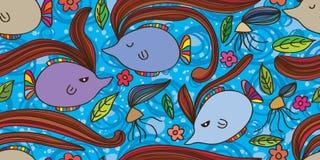 鱼头发摘要无缝的样式 免版税库存图片