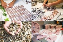 鱼贩子技能和卖 免版税图库摄影