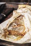 鱼`小包` 被充塞的桃红色三文鱼 免版税库存图片