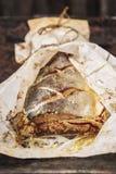 鱼`小包` 被充塞的桃红色三文鱼 库存照片