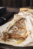 鱼`小包` 被充塞的桃红色三文鱼 免版税库存照片