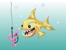 鱼寻找蠕虫传染媒介例证 图库摄影