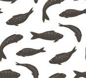 鱼黑白无缝的样式 库存照片