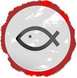 鱼grunge符号 免版税库存照片