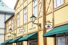 鲁尔蒙德,荷兰07 05 2017年彼得Kaiser商店商标在Mc亚瑟幽谷设计师出口商店地区 免版税库存照片
