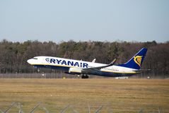 从鲁布林的瑞安航空公司飞行向都伯林 库存图片
