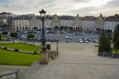 鲁布林,波兰- 2016年6月02日:与历史城堡正方形ho 免版税库存图片