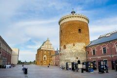 鲁布林,波兰- 2016年6月02日:中世纪皇家塑象庭院  库存图片