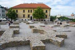 鲁布林,波兰- 2016年6月02日 有reconst的Po Farze广场 免版税库存照片