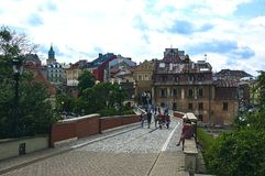 鲁布林,波兰- 2017年7月07日-连接老镇机智的桥梁 免版税图库摄影