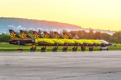 鲁斯特技大量L-39航空器 莫斯科 机场Zhukovsky 7月20日 2017年 库存图片