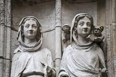 鲁昂-大教堂外部,详细资料 免版税库存照片