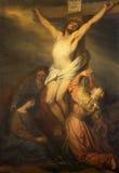 鲁汶-在十字架上钉死 由朗伯约瑟夫马蒂绘形式圣迈克尔教会(Michelskerk)从年1804 -1861 免版税库存图片