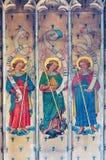 鲁汶-天使壁画在圣彼得哥特式大教堂里 库存图片