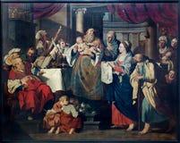 鲁汶-耶稣的介绍寺庙场面的在圣彼得哥特式大教堂里 免版税库存照片