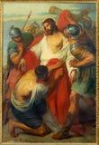 鲁汶-耶稣被剥夺他的Garments.Paint形式圣Michaels教会(Michelskerk)从年1856由Alen Markelbien 库存照片