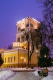 鲁缅采夫Paskevich宫殿在多雪的城市公园在戈梅利,白俄罗斯 库存照片