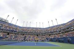 鲍伯和迈克・布赖恩亚瑟・艾许球场的在美国公开赛第三个回合期间加倍比赛在比利・简・金国家网球中心 免版税库存图片