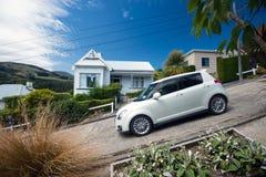 鲍德温街-世界的最陡峭的街道,在达尼丁, Otago,新西兰 免版税库存图片