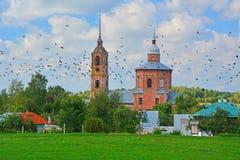 鲍里斯18世纪教会和Gleb在苏兹达尔,俄罗斯 库存照片