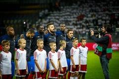 鲍里索夫-白俄罗斯, 2016年9月:在世界杯Qual足球比赛的Pogba  UEFA西甲 免版税库存照片
