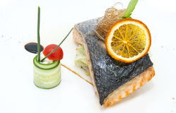 鲑鱼排和小汤 库存照片