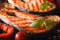 鲑鱼排和菜在格栅,宏指令 水平 免版税图库摄影
