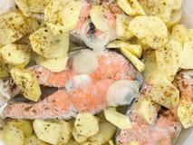鲑鱼排用油煎的土豆 免版税图库摄影