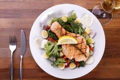 鲑鱼排用菜沙拉和蛋和白葡萄酒 库存照片