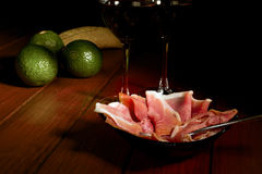 鲕梨火腿西班牙语塔帕纤维布 免版税库存图片