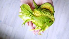 鲕梨雕刻-不可思议的绿色鱼被删去鲕梨在厨师的手上 库存照片