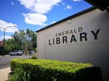鲜绿色图书馆门面大厦  免版税库存照片
