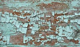 鲜绿色树荫上色了剥皮在木纹理的破裂的油漆 免版税库存照片