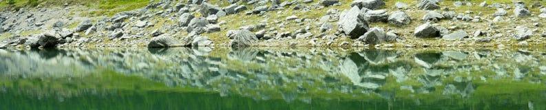 鲜绿色湖全景 库存图片