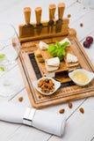 鲜美乳酪快餐集合 免版税库存照片