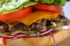 鲜美乳酪牛肉汉堡用莴苣、切达乳酪和tzatziki 图库摄影
