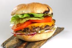 鲜美乳酪牛肉汉堡用莴苣、切达乳酪和tzatziki 免版税库存图片