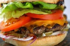 鲜美乳酪牛肉汉堡用莴苣、切达乳酪和tzatziki 库存照片