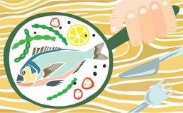 鲜美五颜六色的新近地煮熟的鱼 向量例证