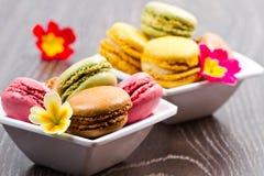 鲜美五颜六色的蛋白杏仁饼干 库存图片