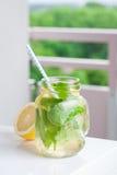 鲜美五颜六色的饮料用冷的绿茶、薄菏和柠檬在一个玻璃瓶子在白色厨房背景 库存照片