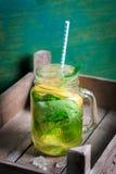 鲜美五颜六色的饮料用冷的绿茶、薄菏和柠檬在一个玻璃瓶子在葡萄酒背景 免版税库存照片