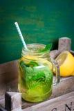 鲜美五颜六色的饮料用冷的绿茶、薄菏和柠檬在一个玻璃瓶子在葡萄酒背景 免版税库存图片