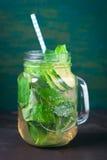 鲜美五颜六色的饮料用冷的绿茶、薄菏和黄瓜在一个玻璃瓶子在葡萄酒背景 免版税库存图片