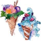 鲜美冰淇淋锥体甜点心 r r 向量例证